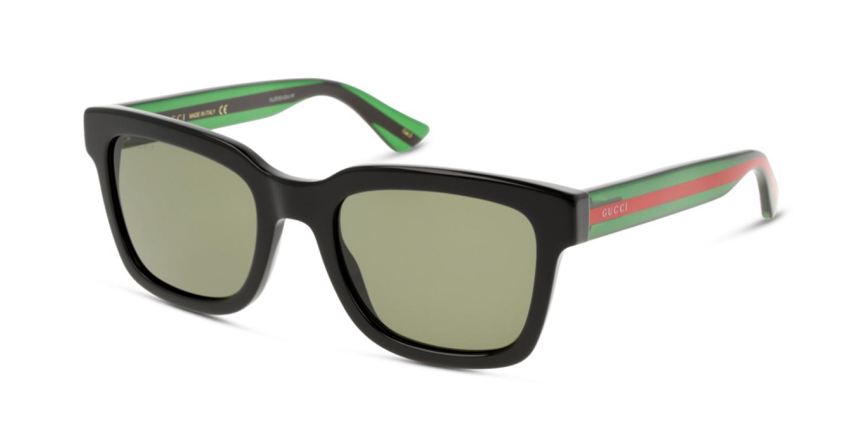 Lunette de Soleil rectangle en plastique Gucci GG0001S 002 BLACK-GREEN-GREEN