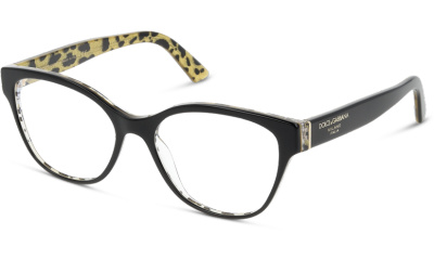 Lunettes de vue Dolce & Gabbana DG3322 3235 BLACK ON LEO GLITTER GOLD